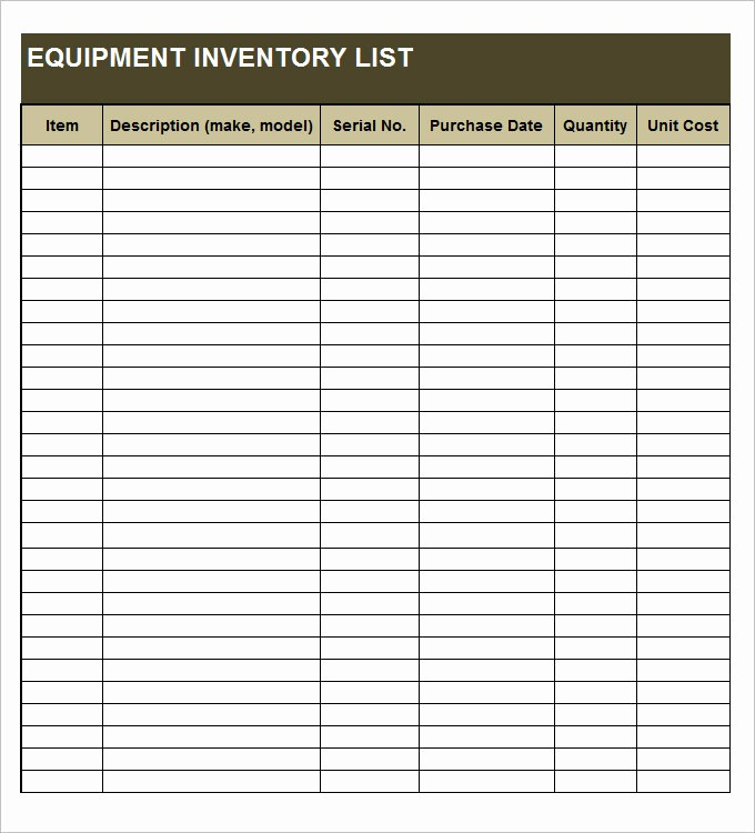 Excel Equipment Inventory List Template Beautiful Equipment Inventory Template 14 Free Word Excel Pdf