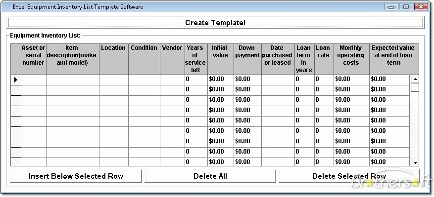 Excel Equipment Inventory List Template Elegant Excel Equipment Inventory List Template software Create