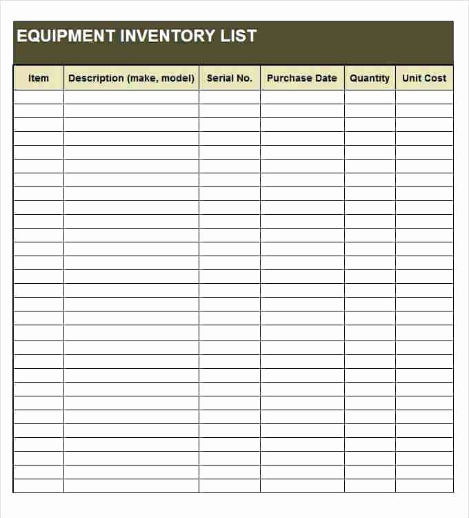 Excel Equipment Inventory List Template Elegant tool Inventory List Inventory List Excel tool Inventory
