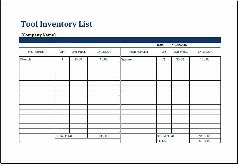Excel Equipment Inventory List Template Lovely Ms Excel Printable tool Inventory Sheet Template