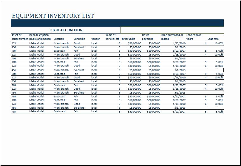 Excel Equipment Inventory List Template Unique Ms Excel Equipment Inventory List Template