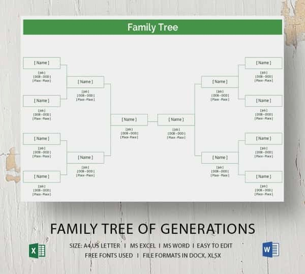 Excel Family Tree Template Free Lovely Simple Family Tree Template 25 Free Word Excel Pdf