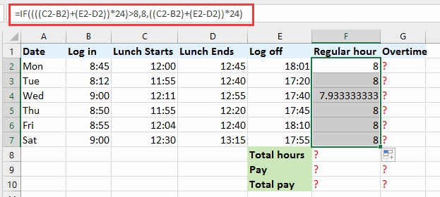 Excel formula for Payroll Hours Awesome How to Quickly Calculate the Overtime and Payment In Excel