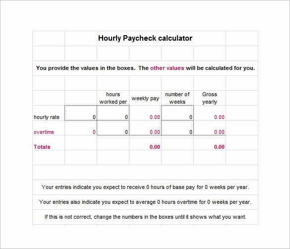 Excel formula for Payroll Hours Beautiful 8 Salary Paycheck Calculator Doc Excel Pdf