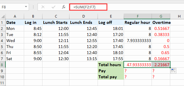 Excel formula for Payroll Hours Beautiful How to Quickly Calculate the Overtime and Payment In Excel