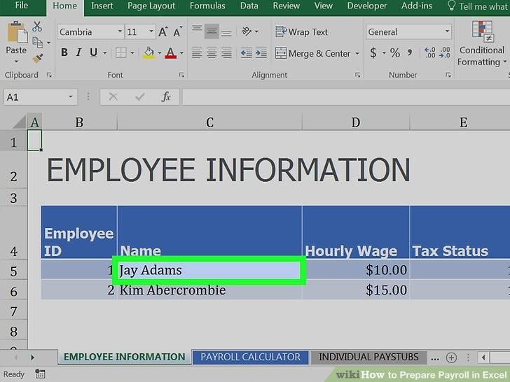 Prepare Payroll in Excel