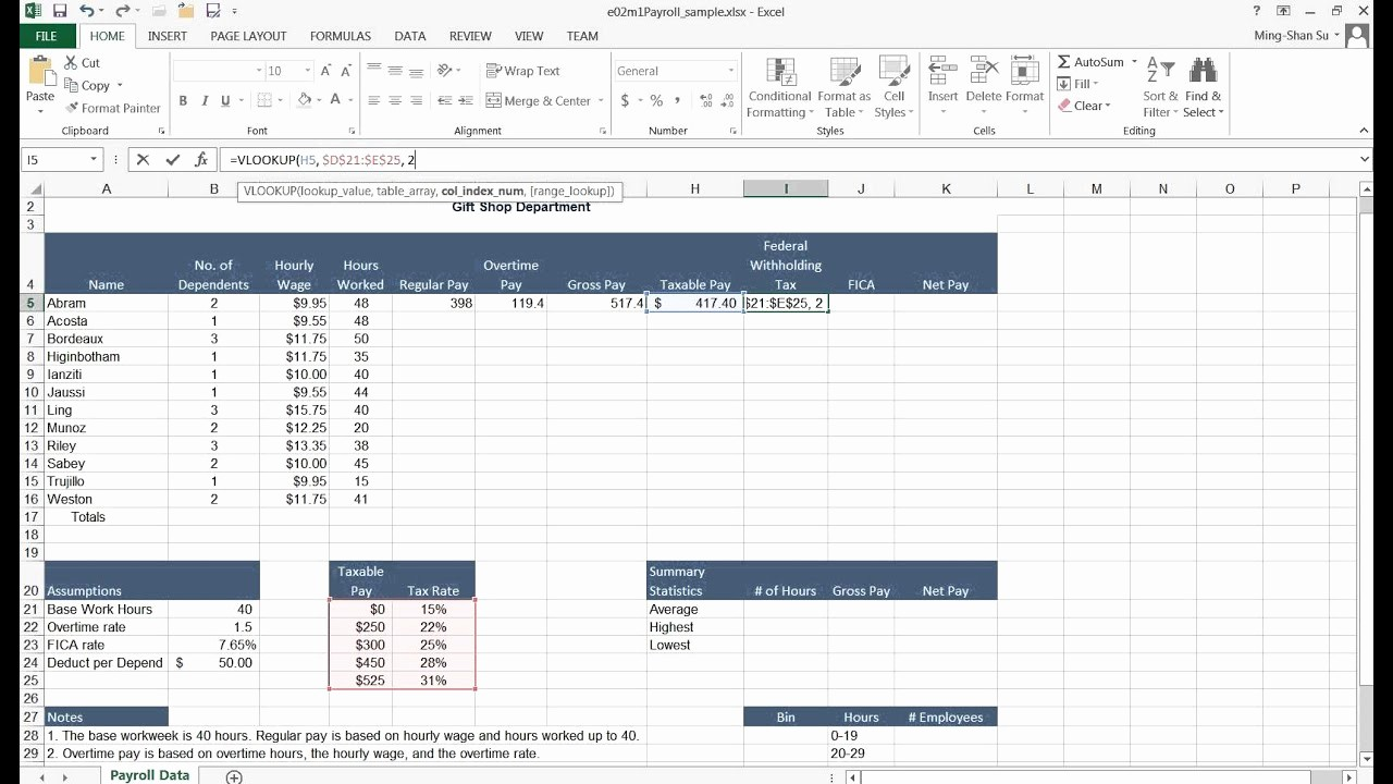 Excel formula for Payroll Hours Elegant Vlookup and Federal withholding Tax
