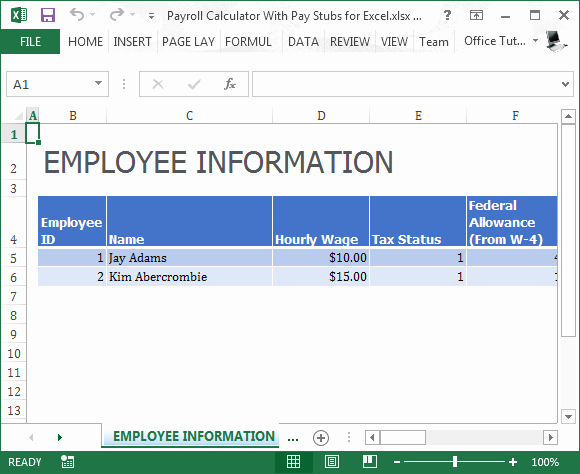 Excel formula for Payroll Hours New Payroll Calculator with Pay Stubs for Excel