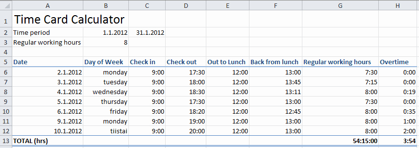 Excel formula for Payroll Hours New Time Card Excel Template Free Templates Free and themes