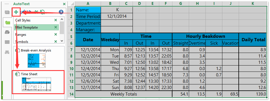 Excel formula for Time Card Awesome How to Create A Time Sheet Template In Excel
