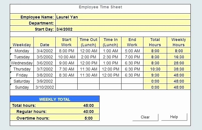Excel formula for Time Card Awesome Timecard In Excel with formulas Excel Weekly Excel formula