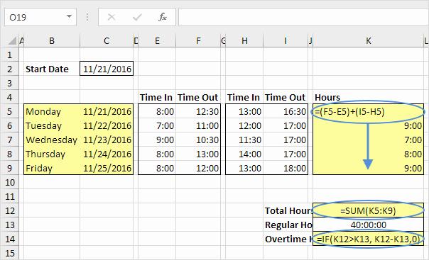 Excel formula for Time Card Best Of Time Sheet In Excel Easy Excel Tutorial