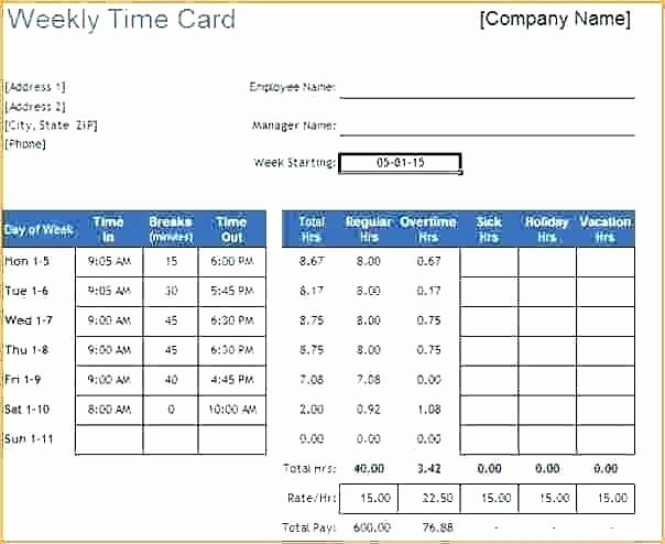 Excel formula for Time Card Inspirational Time Calculator In Excel Time Card Calculator Bi Weekly
