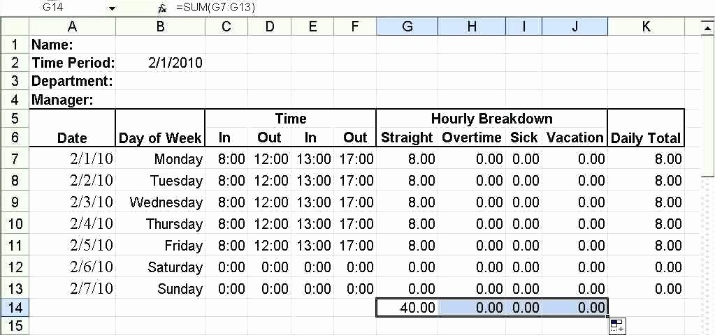 Excel formula for Time Card Inspirational Timecard In Excel with formulas Excel Weekly Excel formula