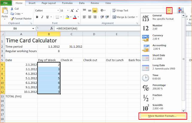 Excel formula for Time Card Unique 7 Time Card Calculator Excel
