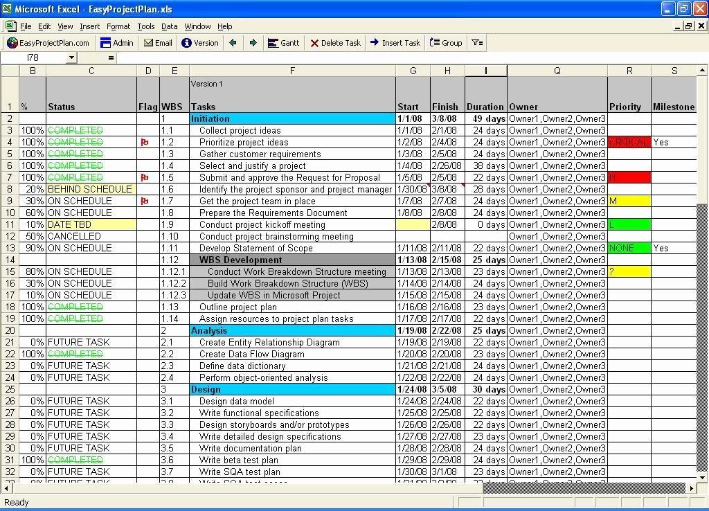 Excel Gantt Project Planner Template Inspirational Easyprojectplan