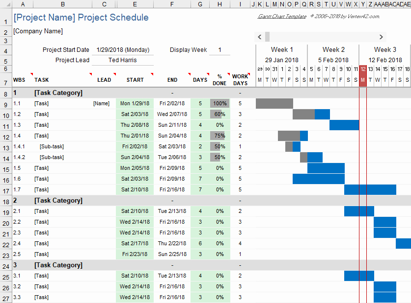 Excel Gantt Project Planner Template Inspirational Free Gantt Chart Template for Excel