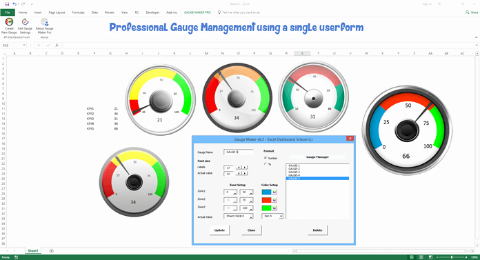 Excel Gauge Chart Template Download Best Of Gauge Chart Maker Pro Add In Kpi Dashboard Automation tool