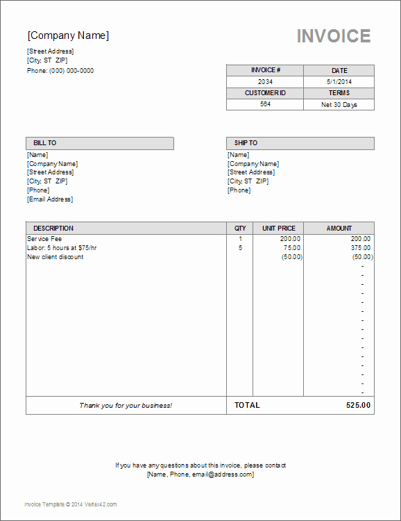 Excel Invoice Template Free Download Beautiful Billing Invoice Template for Excel