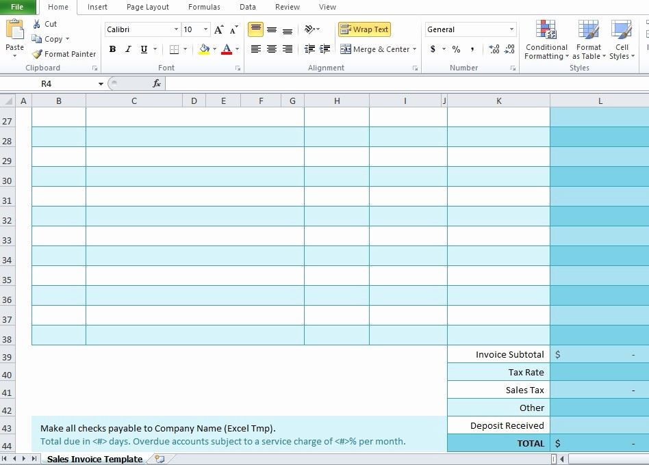 Excel Invoice Template Free Download Elegant Free Sales Invoice Template for Excel Excel Tmp