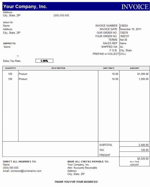 Excel Invoice Template Free Download Lovely Quickbooks Invoice Template Excel