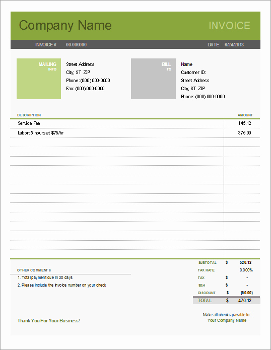 Excel Invoice Template Free Download Lovely Simple Invoice Template for Excel Free