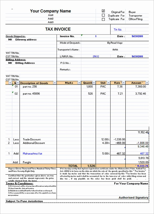 Excel Invoice Template Free Download Unique 60 Microsoft Invoice Templates Pdf Doc Excel