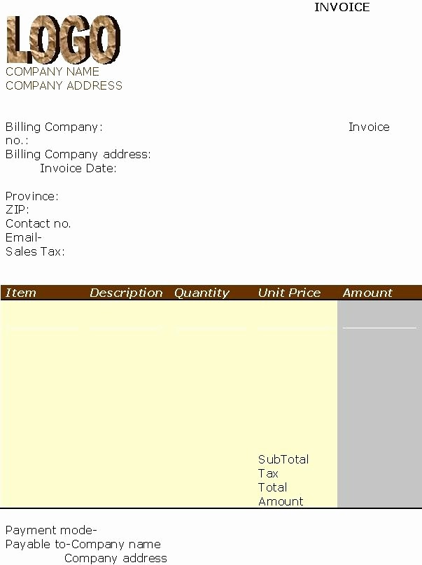 Excel Invoice Template with Logo Beautiful Invoice Template with Logo Invitation Template