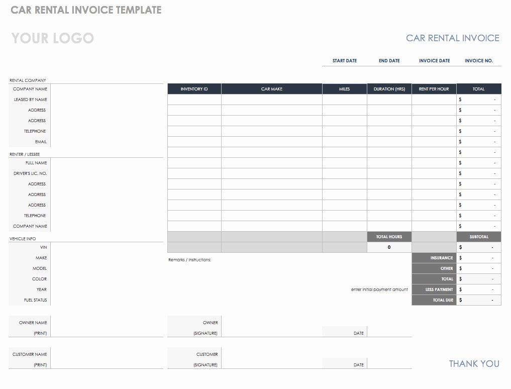 Excel Invoice Template with Logo New Freeware Download Car Rental Invoice Template Free Monthly