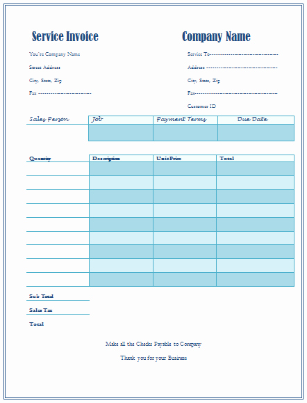 Excel Invoice Template with Logo New Service Invoice Template for Service Provider Panies