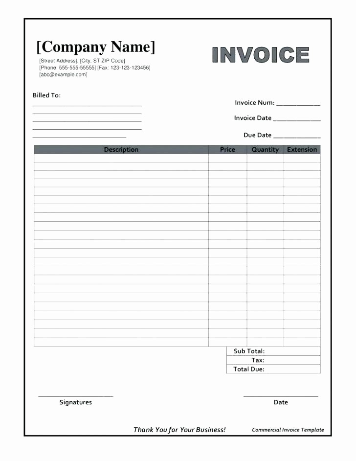 Excel Invoice Template with Logo Unique 96 Work order Invoice Template Free Work order Sample