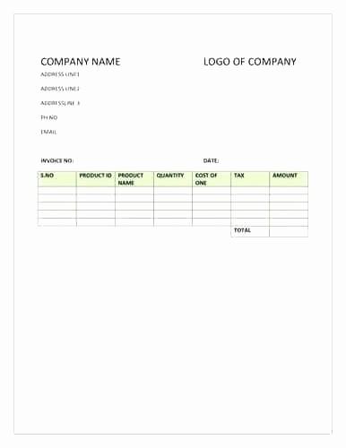 Excel Invoice Template with Logo Unique Generic Invoice Template – Pranksmonkeyub