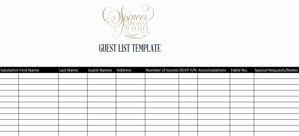 Excel Party Guest List Template Awesome 7 Guest List Templates Excel Pdf formats