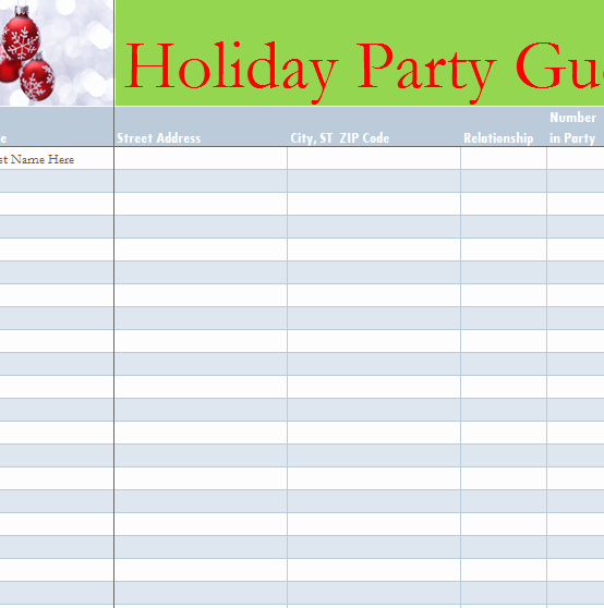 Excel Party Guest List Template Awesome Holiday Party Guest List My Excel Templates