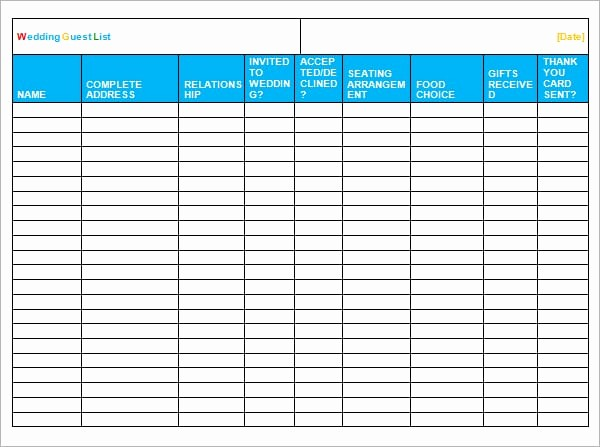 Excel Party Guest List Template Elegant 5 Guest List Templates formats Examples In Word Excel