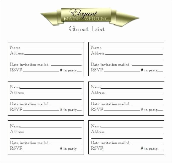 Excel Party Guest List Template Fresh 10 Party Guest List Templates Word Excel Pdf formats