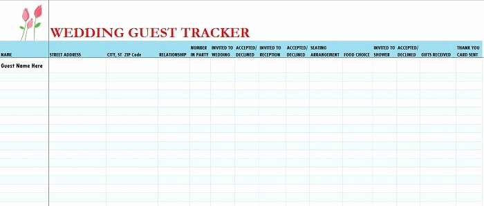 Excel Party Guest List Template Fresh 37 Free Beautiful Wedding Guest List & Itinerary Templates
