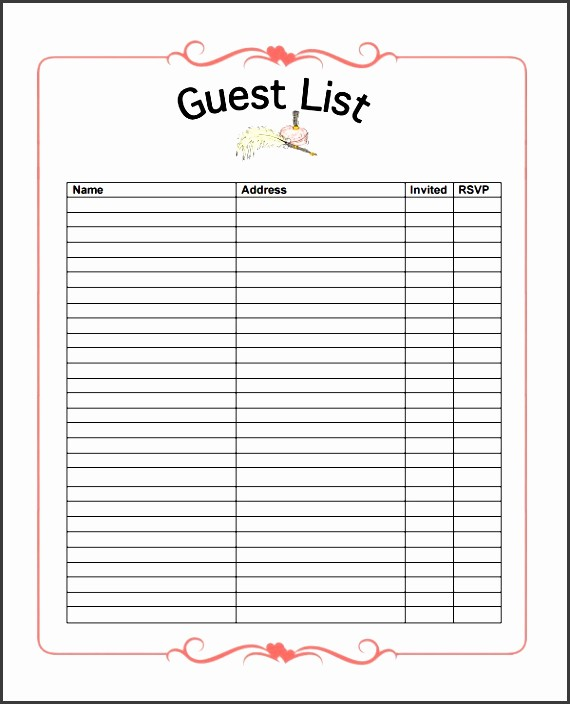 Excel Party Guest List Template Inspirational 10 Party Guest List Example Sampletemplatess