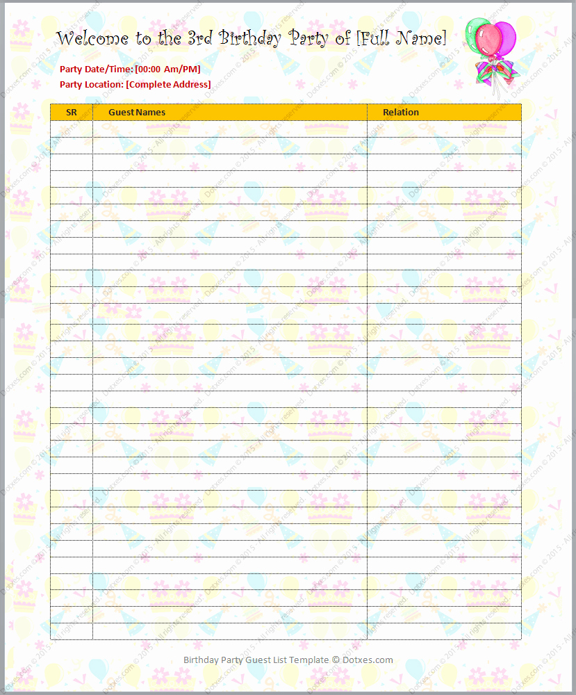 Excel Party Guest List Template Inspirational Birthday Party Guest List Template Dotxes