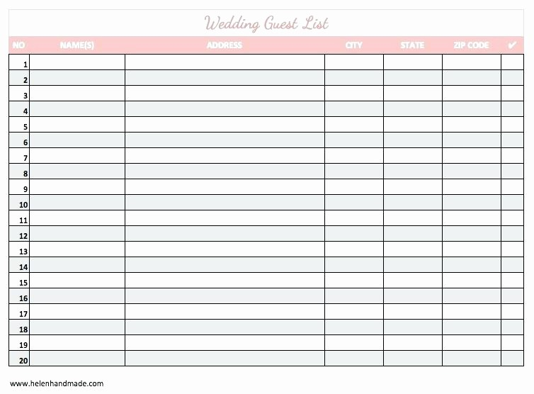 Excel Party Guest List Template Lovely formal Birthday Party Guest List Template Excel