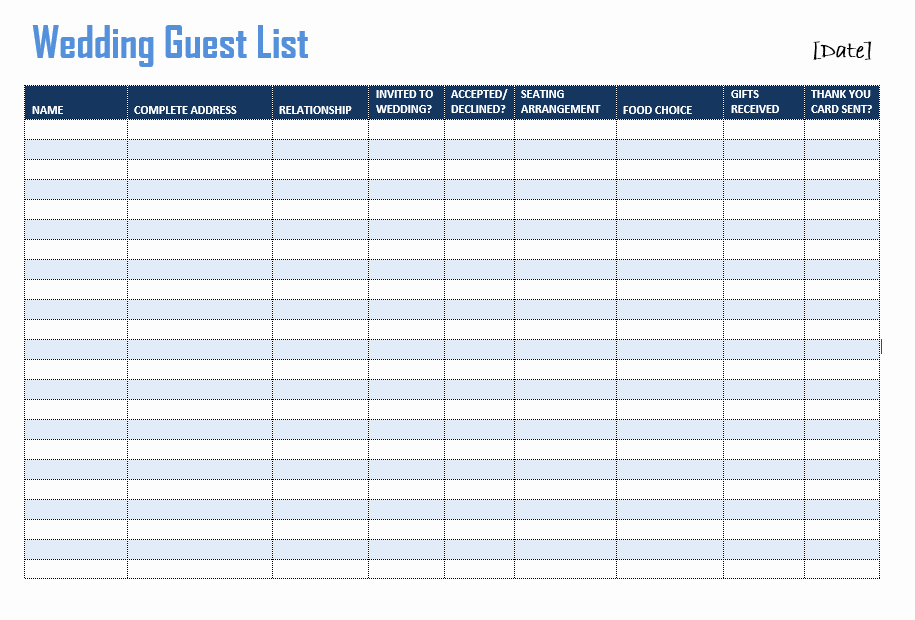 Excel Party Guest List Template Luxury Wedding Guest List Template format Example
