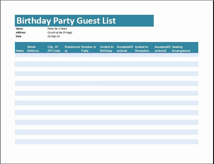 Excel Party Guest List Template New Birthday Guest List Template