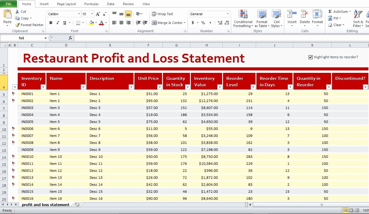 Excel Profit and Loss Statement Awesome Restaurant Profit and Loss Statement Template Excel