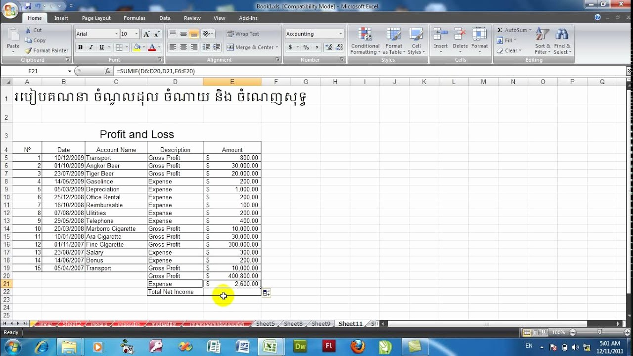 Excel Profit and Loss Statement Elegant How to Calculate Profit and Loss In Excel 2010 Profit