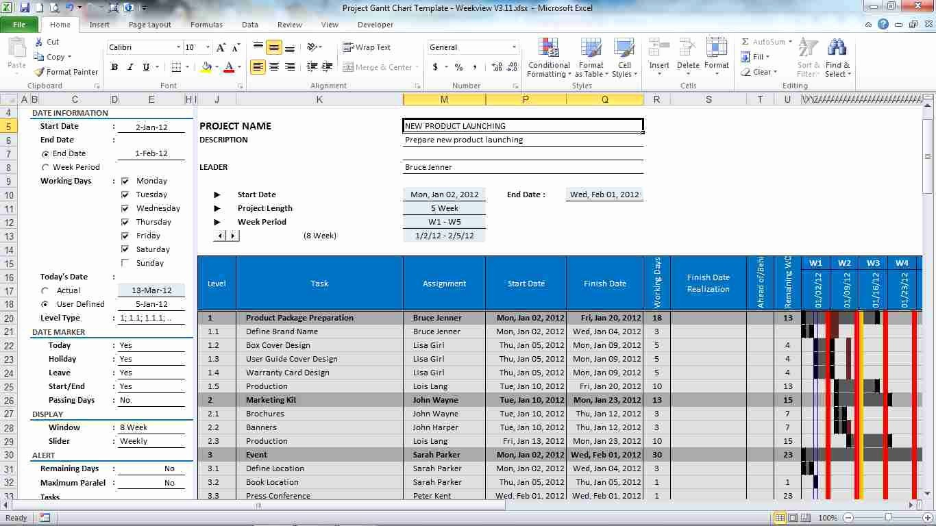 Excel Project Management Templates Free Beautiful Download Free Gantt Chart Project Plan Excel Template by