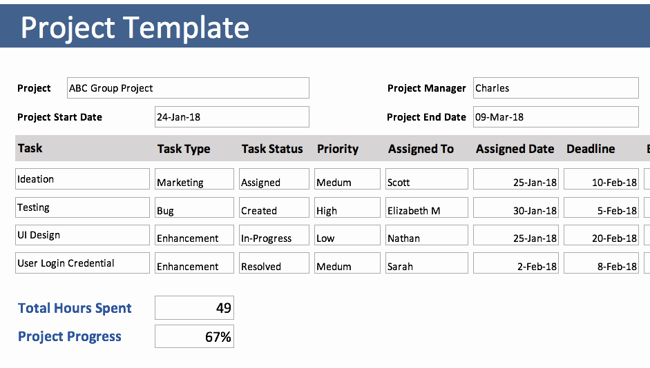 Excel Project Management Templates Free New Free Excel Templates