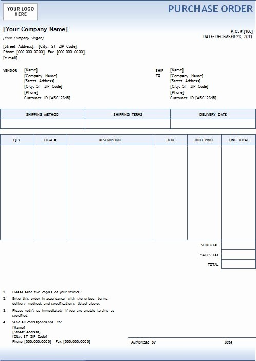 Excel Purchase order Template Free Beautiful New Blank Purchase order