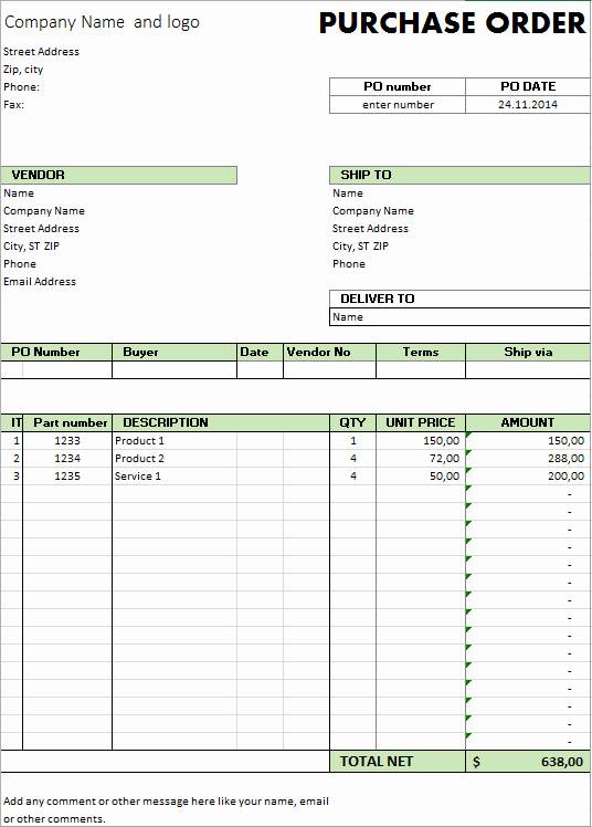 Excel Purchase order Template Free Best Of Excel Template Free Purchase order Template for