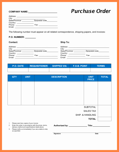 Excel Purchase order Template Free Elegant 9 Purchase order Template Microsoft Excel