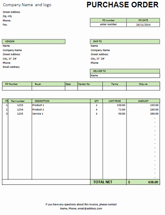 Excel Purchase order Template Free New Excel Purchase order Template